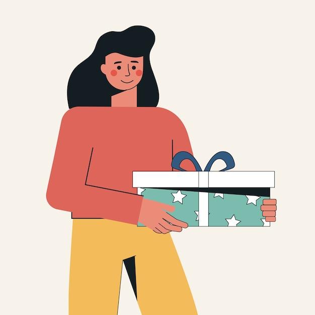 Праздник концепции дня рождения, рождественская женщина с подарком