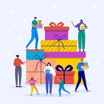 캐릭터와 크리스마스 선물이 있는 휴일 개념입니다. 어린 소년과 소녀, 어린이와 가족들은 크리스마스 상자를 장식합니다. 전나무 나무와 눈송이, 벡터 컬렉션 아래 선물
