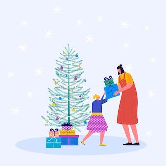 어머니와 크리스마스 선물 휴일 개념입니다. 어린 소년과 소녀, 어린이와 가족들은 크리스마스 상자를 장식합니다. 전나무 나무와 눈송이, 벡터 컬렉션 아래 선물