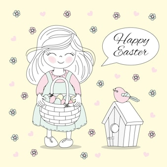 Holiday cots easter vector illustration