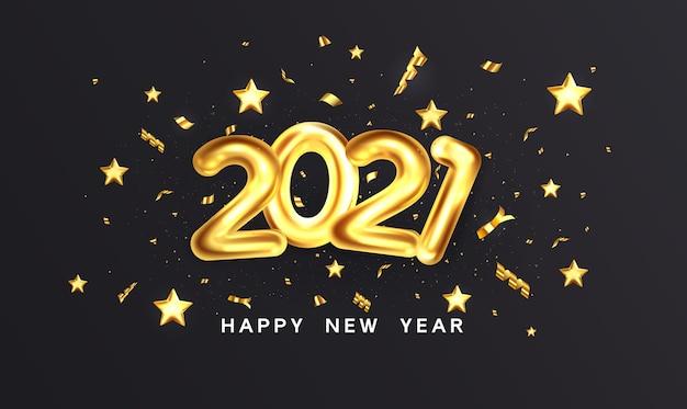 暗い背景に金色の金属番号2021の休日のデザイン。図