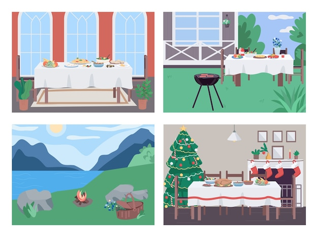 Holiday dinner flat color  set. yard bbq. picnic on lawn. recreational activity for family bonding 2d cartoon scene with interior and landscape on background collection