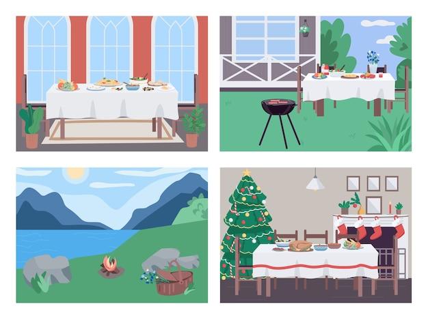 ホリデーディナーフラットカラーセット。ヤードバーベキュー芝生でのピクニック。背景コレクションのインテリアと風景と2d漫画シーンを結合する家族のためのレクリエーション活動
