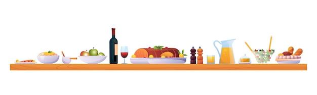クリスマスや感謝祭の休日のディナーは、木製のテーブルベクトル赤で食べ物や飲み物を分離しました