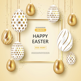 Holiday easter day,gold and white easter eggs background.