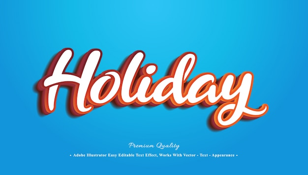 Holiday editable 3d text effect