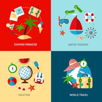 Holiday elements flat set