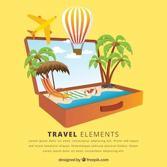 休日の要素のスーツケースの背景