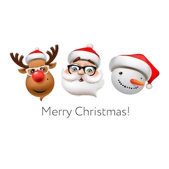 Праздничный смайлик набор иконок, рождественские символы эмодзи, олень, санта-клаус, снеговик