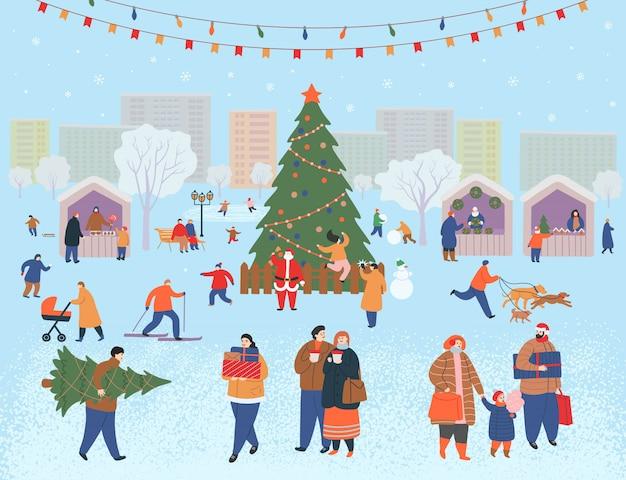 Праздничная ярмарка, рождество в парке. большой набор людей зимой. люди гуляют, покупают подарки, пьют кофе, катаются на коньках, лыжах, лепят снеговика, выгуливают собак. плоские векторные иллюстрации шаржа.