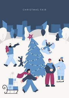 사람과 키오스크 및 크리스마스 트리가있는 공원이나 마을 광장에서 밤에 휴일 박람회 크리스마스 시장