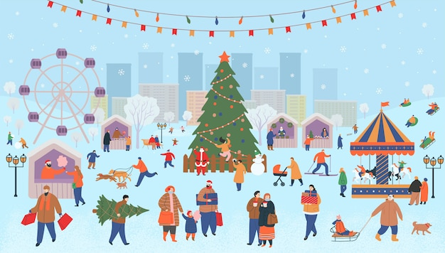 Holiday fair, christmas in the park. big set of people in winter. people walking, buying gifts, drinking coffee, skating, skiing, making a snowman, walking dogs.  flat cartoon vector illustration.