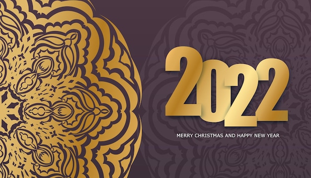 Holiday flyer 2022 happy new year burgundy color vintage gold ornament