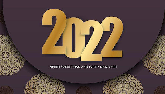 Holiday flyer 2022 happy new year burgundy color with winter gold pattern