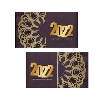 Holiday flyer 2022 메리 크리스마스와 해피 뉴 이어 버건디 색상과 겨울 골드 장식