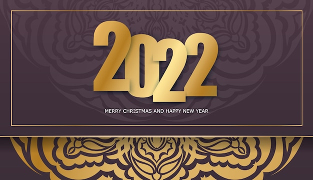 Holiday flyer 2022 merry christmas burgundy color with abstract gold ornament