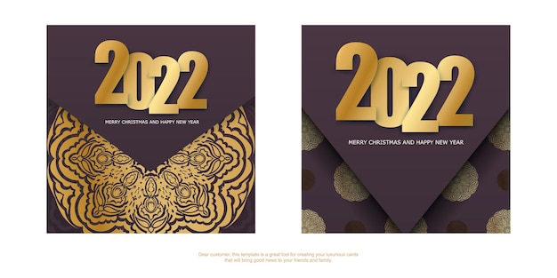 Holiday flyer 2022 merry christmas and happy new year burgundy color with vintage gold ornament
