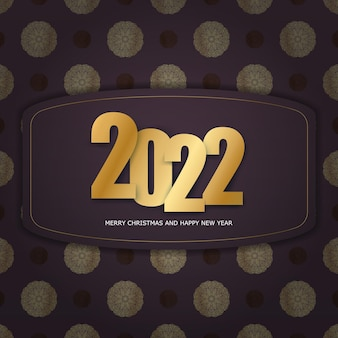 Holiday flyer 2022 merry christmas and happy new year burgundy color with winter gold pattern