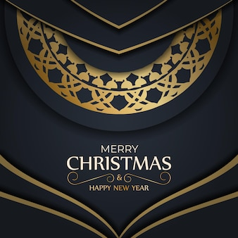 Holiday flyer merry christmas dark blue with abstract gold pattern