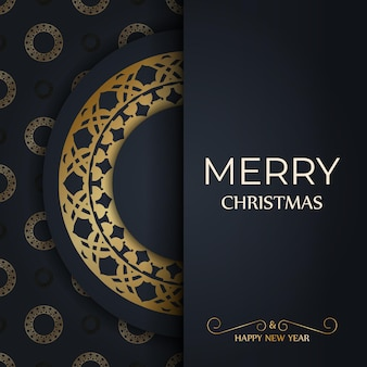 Holiday flyer merry christmas dark blue with winter gold pattern