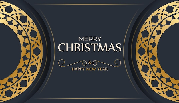 Holiday flyer merry christmas and happy new year in dark blue color with abstract gold ornament