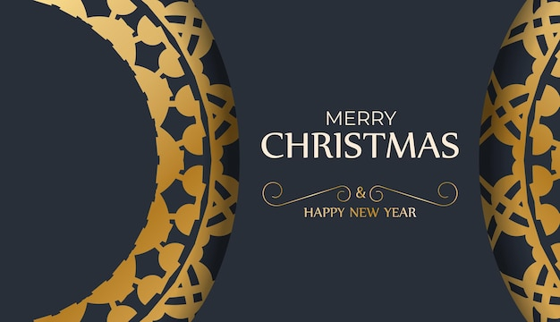 Holiday flyer merry christmas and happy new year in dark blue color with abstract gold pattern