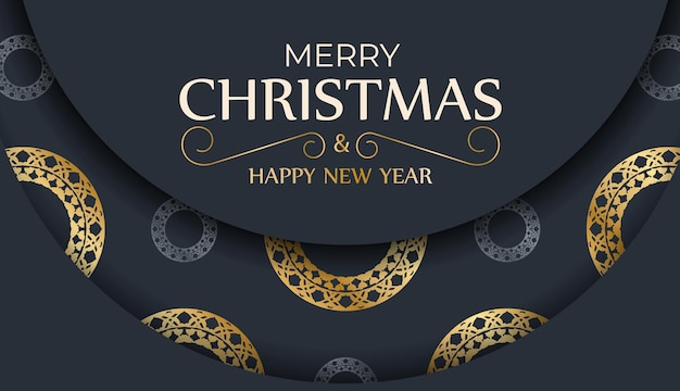 Holiday flyer merry christmas and happy new year in dark blue color with winter gold ornament