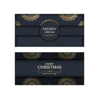 Holiday flyer merry christmas and happy new year in dark blue color with winter gold pattern