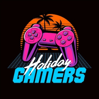 Holiday gamers 80s retro graphic