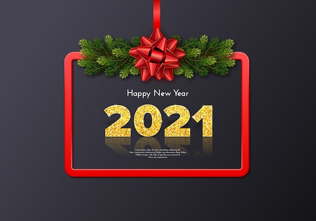 Holiday gift card happy new year 2021 with fir tree branches garland, red frame and bow