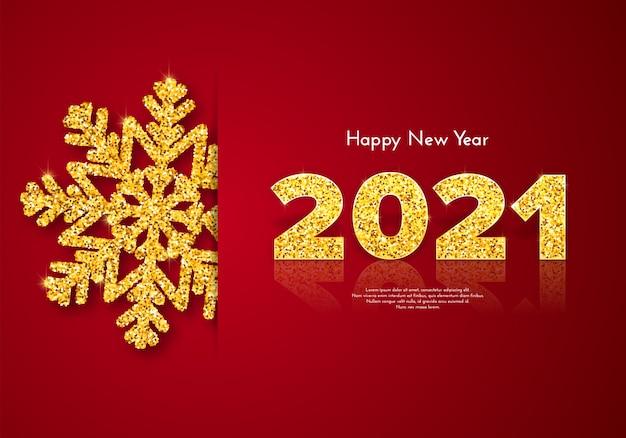 Праздничная подарочная карта happy new year 2021 с золотой блестящей снежинкой