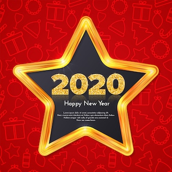 Holiday gift card happy new year. golden numbers 2020