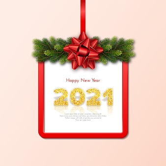 Holiday gift card happy new year  with fir tree branches garland, red frame and bow