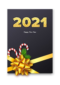 Holiday gift card happy new year with golden numbers 2021.