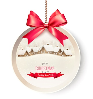 크리스마스 배경 및 빨간색 선물 리본 크리스마스 선물 카드.