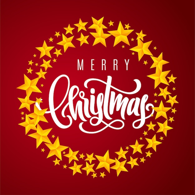 Праздничная подарочная карта с золотой рукой, надписью с рождеством и звездами