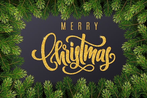 Holiday gift card with golden hand lettering merry christmas and fir tree branches on dark background
