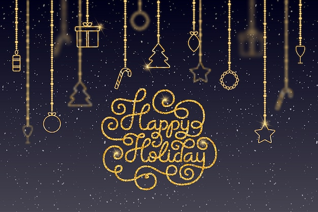 Holiday gift card with hand lettering happy holiday