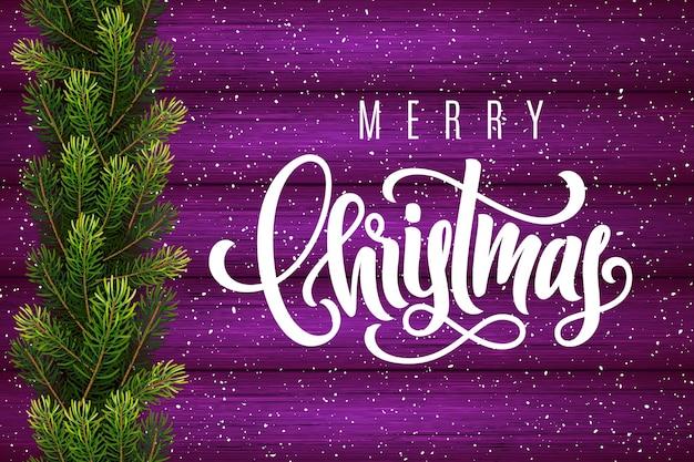木の背景にメリークリスマスとモミの木の枝を手書きでホリデーギフトカード
