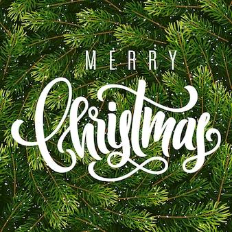 Праздничная подарочная карта с ручной надписью с рождеством и венком