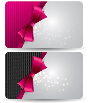 Holiday gift card  with pink ribbons and bow.  illustration.
