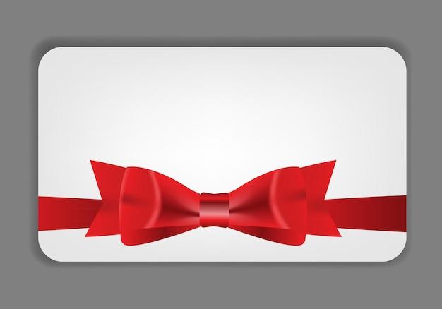 赤いリボン、リボン、テキスト用の場所が付いたホリデーギフトカード。 vect