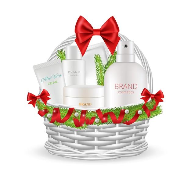 명절 선물. 다른 화장품 병이 있는 현실적인 크리스마스 바구니. 새해 포장 벡터 삽화의 스킨 케어 제품. 바구니 화장품 선물, 세트 포장 향수 및 크림