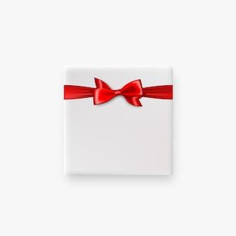 Праздничный подарок белая коробка с красным атласным бантом вид сверху реалистичный 3d векторный объект атласная шелковая лента