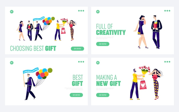 Holiday gifts set of landing pages.