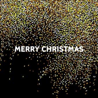 黒の背景にホリデーキラキラデコレーションゴールド紙吹雪のスプレークリスマスキラキラ効果