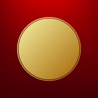 Holiday gold round frame on red background