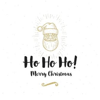 Праздничная открытка - санта-клаус и рождественское приветствие.