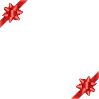 赤いリボンでホリデーグリーティングカードテンプレート