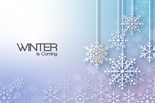Holiday greeting with snowflake and snowfall background.